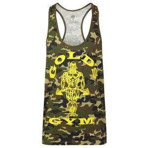 Golds Gym Stringer Joe Camo Green