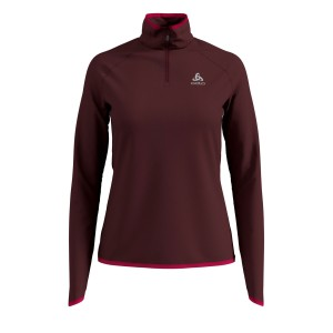 Odlo Bluza Tech. Damska Midlayer 1/2 zip Carve bordo