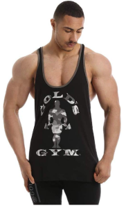 Golds Gym Stringer Camo Joe Black
