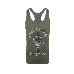 Golds Gym Stringer Camo Joe Army Marl